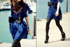 dress blue dress bow black bow black dress leggings pretty