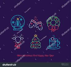 neon christmas icon collection stock vector 342865655 shutterstock