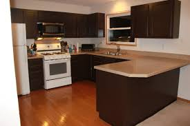 modern painted kitchen cabinet with dark brown color and u shape