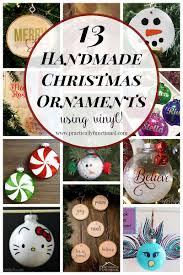 13 handmade ornaments using vinyl
