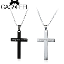 personalized engraved jewelry gagafeel personalized engraved name stainless steel cross pendant