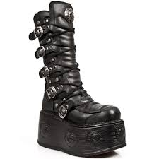 tall motorcycle boots m 985 c3 tall black leather new rock space soled platform boots