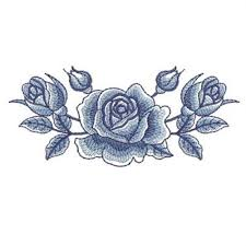 delft blue roses border embroidery designs machine embroidery