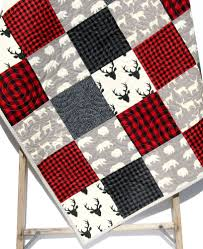 Spaceship Crib Bedding by Buffalo Plaid Quilt Elk Deer Bear Baby Blanket Toddler Bedding