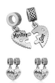 silver bracelet with love heart images Authentic silver heart mother son charm beads pandora bracelet mom