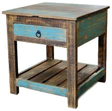 Reclaimed Wood Side Table Taos End Table Beach Style Side Tables And End Tables By