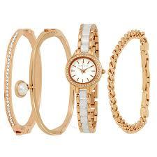 anne klein bracelet set images Anne klein rose gold white dial ladies watch and bracelet set jpg