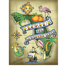 florida sunshine state tattoo map sign us travel decor