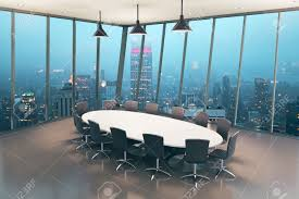 boardroom interior design with tile floor and night city view