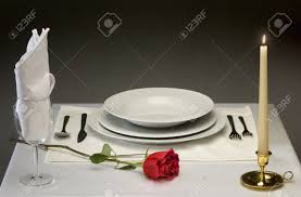 Elegant Table Settings Elegant Table Setting With Rose And Candlelight Stock Photo