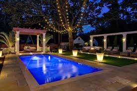 beautiful outdoor lighting around pool home design plan
