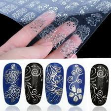 amazon com lowpricenice 108pcs 3d silver flower nail art stickers