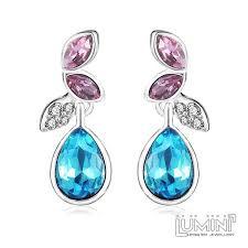 dangler earrings lumini pink blue angel wings platinum plated dangler