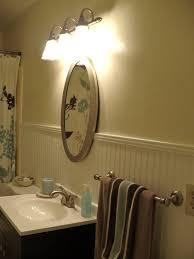 Bathroom Beadboard Height - white painted wall bathroom mixed striped pattern beadboard