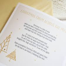 personalised christmas across the miles card by a touch of verse