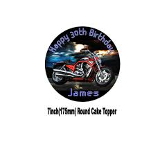 harley davidson vtwin red motorbike birthday cake topper choices