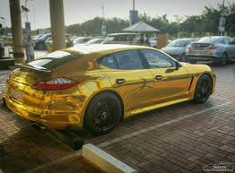 porsche wrapped gold wrapped panamera