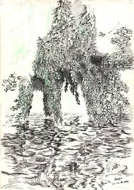 sketch of a weeping willow with branches in water