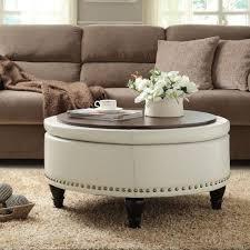 Black Leather Storage Ottoman Living Room Wonderful Living Room Ottoman Ideas With Round Black