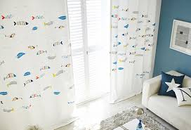 Fish Curtains Fish Print Poly Cotton Blend Curtains