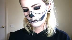 Halloween Skull Makeup Tutorial Half Skull Makeup Tutorial Easy Last Minute Haloween Idea Youtube