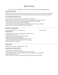 resume examples for servers exserver resume template