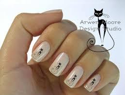 very chic mod black cat nail art waterslide water decals