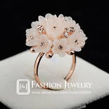 golden flower rings images New arrival female finger ring 18k real gold plated acrylic resin jpg