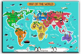 Map Of The World Art by Amazon Com World Map Canvas Wall Art For Kids Room Typical