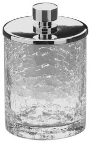 Crackle Glass Bathroom Accessories by Addition Crackled Glass Round Cotton Ball Swab Holder Q Tip Jar