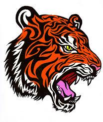 colorful tribal tiger design by bathedinsin