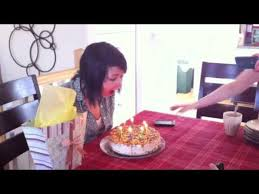 hair catches on fire while blowing out candles jukin media