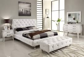 Solid Wood White Bedroom Furniture Bedroom King Size White Modern Leather Platform Bed Contemporary