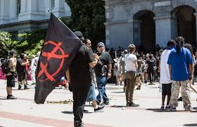 Outside Flag File Crowd Outside California State Capitol After Riot Anarchist