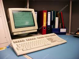old computer workstation u2014 stock photo wolandmaster 4370980