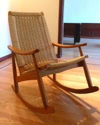 mid century danish modern woven rocking chair wegner style