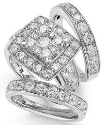 diamond wedding ring sets 14k white gold diamond bridal ring set 4 ct t w rings