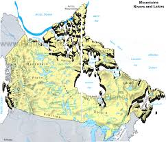 Mountains Of The World Map by Map Of Canada Mountains Rivers And Lakes Planetware