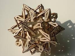 geometric wood sculpture george hart artwork compass points original sculpture wood