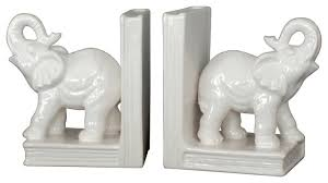 ceramic elephant bookends set of 2 traditional bookends by