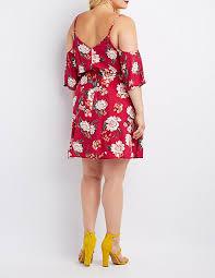 plus size floral cold shoulder skater dress charlotte russe