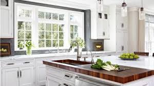 white kitchen island with butcher block top stylish and peaceful white kitchen island with butcher block top 18 585x329 jpg