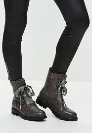 brown leather biker boots flat boots for women online missguided