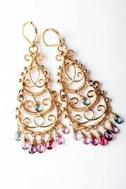 Colorful Chandelier Earrings Exotic Bohemian Purple Gold Earrings Hoop Gemstone Earrings
