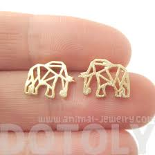 allergy earrings elephant origami outline shaped allergy free stud earrings in gold