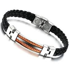 luxury man bracelet images Opk classical pu leather braided wrap bracelet stainless steel jpg