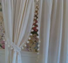 White Curtains With Pom Poms Decorating Gorgeous White Curtains With Pom Poms Decorating With Batik Pom