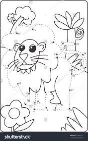 how draw lion drawing children dot stock vector 513001711