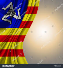 Flag Yellow Sun Flag Sicilian Nationalism On Sun Shine Stock Illustration