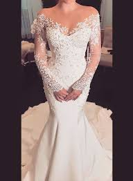 bridal wedding dresses h0945 sheer top illusion sleeves lace mermaid wedding